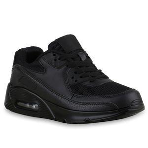 Mytrendshoe Damen Sportschuhe Laufschuhe Runner Sneakers Profilsohle 816283, Farbe: Schwarz, Größe: 38