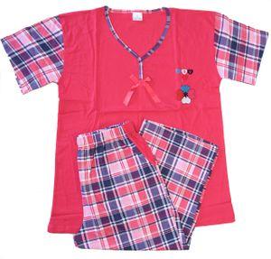 Damen Shorty Pyjama Schlafanzug , Farbe:Pink, Größe :M