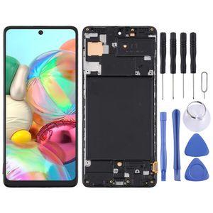 Für Samsung Galaxy A71 A715F Display Full TFT LCD mit Rahmen Einheit Touch Ersatzteil Reparatur Schwarz (ohne Fingerprint Funktion)
