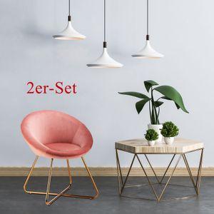 Futurefurniture® 2er-Set Esszimmerstühle Küchen- / Wohnzimmerstühle Waschtisch / Make-up / Freizeit / Akzent Gepolsterte Seitenstühle mit Sitzlehne aus weichem Samt (Rosa)⭐⭐⭐⭐⭐