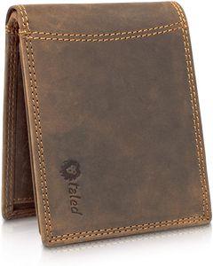 TALED®  Premium Leder Herren Geldbörse Lion mit Rfid Schutz -  Germany, Farbe:Braun