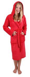 Betz Kinder Bademantel mit Kapuze Jungen Mädchen, Größe - 152, Farbe rot