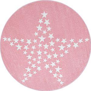 Sterne Design Kurzflor Teppich Kinderteppich Kinderzimmer Soft Farbe Pink Weiss, Farbe:Pink, Grösse:120 cm Rund