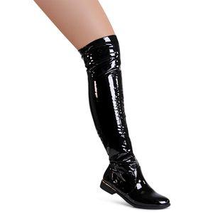 topschuhe24 1957 Damen Overknee Stiefel Stretch , Farbe:Schwarz Lack, Größe:38 EU