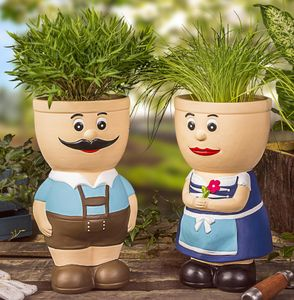 Blumentopf Figur Keramik Resi und Sepp Kräutertopf Übertopf Pflanztopf Bayerische Deko