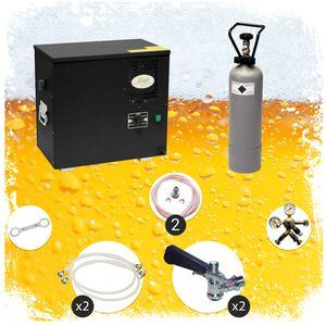 Komplett Set Zapfanlage, AS-40, 2-leitig, Durchlaufkühler, Nasskühler - Untertheke, Green Line, Zapfkopf:5 Liter Adapter, Zapfkopf 2:ohne