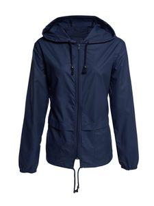 Wasserdichte Jacke für Damen Regenmantel Windjacke Windbreaker Zip Pocket Jacket,Farbe: Navy blau,Größe:L