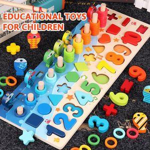 Melario Montessori Mathe Spiel Lernbox mit Multifunktionen Zahlen Rechnen Holzspielzeug