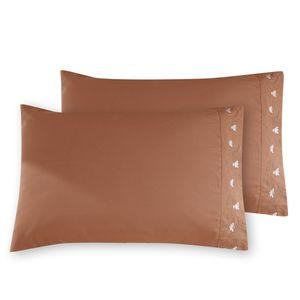 Komfortable reine Farbe mit besonderer Dekoration Lotus Stickerei Norm Kissenbezug Facial & Hautpflege 100 % Polyester Home Bettwäsche Kissenbezug【braun】