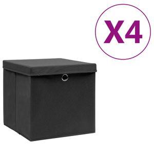 vidaXL Aufbewahrungsboxen mit Deckeln 4 Stk. 28x28x28 cm Schwarz