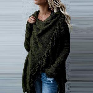 Mode Frauen Winter Lange Ärmel Gestrickt Sweatshirt Strickjacke Damen Fransenmantel Pullover Outwear Farbe: Armee-Grün, Größe: M