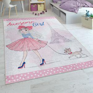 Kinderteppich, Spielteppich Für Kinderzimmer In Rosa, Grösse:140x200 cm