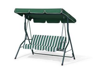 Hollywoodschaukel grün/weiß Stahl Sonnendach verstellbar Outdoor Terrasse