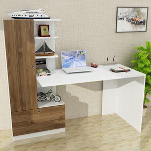 Schreibtisch Weiß-Walnuss Domingos | (B/H/T) 149,5 cm/120 cm/61,8 cm