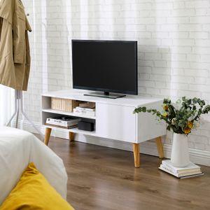 VASAGLE Lowboard 110 x 40 x 49,5 cm im skandinavischen Stil, TV-Regal, Fernsehtisch, Fernsehschrank, weiß LTV09WT