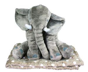 Elefant Grau 45 cm mit Decke 80 cm x 100 cm Kuscheltier mit Kuscheldecke gepunktet