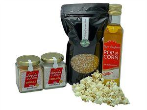 Hopser Food Fun Partyset 500g Popcornmais,250ml Popcornöl mit Butteraroma,150g Popcorn-Zucker Vanille und 150g Karamellzucker Popcornset für Popcornmaschine