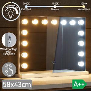 Aquamarin® Hollywood Spiegel - 3 Lichtfarben, Dimmbar, mit Beleuchtung, Touch, 15 LED Leuchten, 58 x 43 cm - Wand Tischspiegel, Kosmetikspiegel, Theaterspiegel, Make-up-Spiegel, Schminktischspiegel