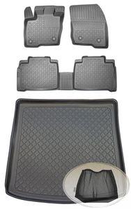 SET Kofferraumwanne Gummifußmatten für Ford Galaxy Titanium 3 Van Kombi 5-türer 2015- 7Sitze (1. + 2. Sitzreihe) 7Sitze (3. Reihe unten)