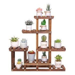 WISFOR Pflanzenregal Holz, Blumentreppe 6 Ablagen, Blumenregal Pflanzentreppe für Wohnzimmer Balkon Garten Indoor Outdoor, 60×11.5×61.5cm