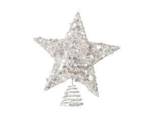 Christbaumspitze Pailletten Stern Metall 21 x 19 cm Silber Grau Glitzer Weihnachtsbaum Spitze