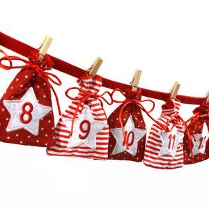 Adventskalender zum Befüllen - Stoff, rot weiß/Weihnachtskalender,Zahlen,Beutel,Sack,Säcke,Säckchen,Stoffbeutel,Baumwolle,Baumwollsäckchen,Geschenkbeutel,Bastelset