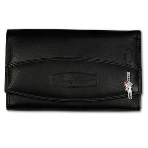 Money Maker Echt-Leder Damen Geldbörse schwarz RFID Schutz 16x2.5x9.5cm OPJ719S
