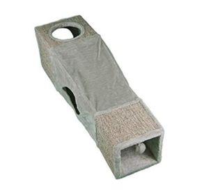 Rohrschneider Spieltunnel grau-natur Katzentunnel Katzenhöhle Plüschtunnel