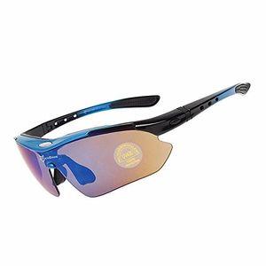 ROCKBROS Fahrradbrille PolarisiertBrille UV400 mit 5 Wechselgläser Blau