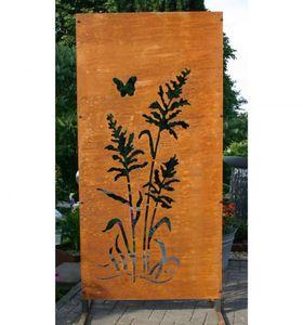 Edelrost Sichtschutz Wand 200cm Garten Sichtschutzelement Gräser mit Schmetterling