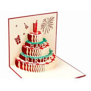 3D Gru?karte Kuchen Gru?karte Rot 3D Stereoskopischer dreist?ckiger Kuchen Geburtstag