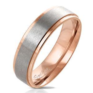 viva-adorno Gr. 55 (17,5 mm Ø) Damen & Herren Edelstahl Ring Partnerring Verlobungsring matt gebürstete Mitte RS57,Rosegold mit Silber matt,