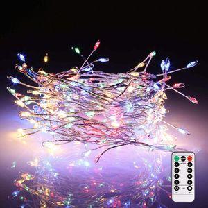 4M 200LED Kupferdraht Bunt Lichterkette Batteriebetriebene Weihnachten Party Garten Deko mit Fernbedienung