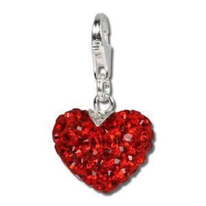 SilberDream rot Charm Feuriges Herz Swarovski Elements Silber Anhänger GSC304