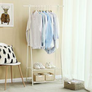 SONGMICS Metall Garderobenständer mit Schuhablage weiß 155 x 87,5 x 41 cm Kleiderständer HSR05W
