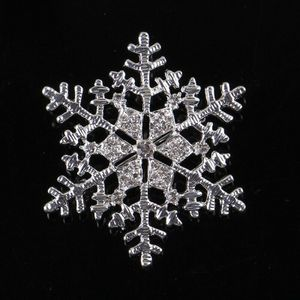 Hochzeit Silber Schneeflocke Diamante Brosche Strass Kristall Brosche-Silver