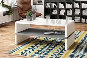 Design Couchtisch Tisch Rock Weiß Hochglanz / Beton Betonoptik Wohnzimmertisch 100x60x43cm mit Ablagefläche