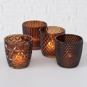 Teelichthalter 4erSet Teelichtgläser Deko-Windlicht Marilu braun Glas