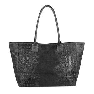 Italy DAMEN LEDER TASCHE DIN-A4 KROKO-Prägung Shopper Tote Bag Henkeltasche Wildleder Handtasche Umhängetasche Ledertasche Schultertasche Beuteltasche Schwarz