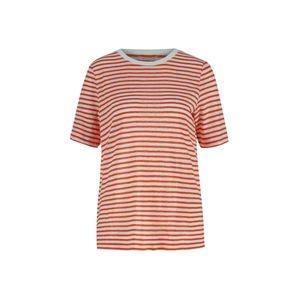 Maerz München Damen Leinen T-Shirt 1/2 Arm, 134001 662, Ringel weiss/orange Orange 38