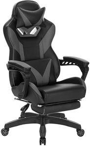 Gaming Stuhl aus Kunstleder mit Fußstütze Brandt : grau Farbe: grau