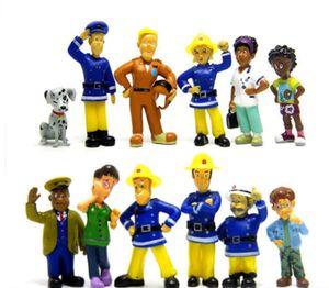 12 pc / set Feuerwehrmann Sam Nette Karikatur PVC Action Figure Puppe Spielzeug für Kinder Pädagogische Mode Feuerwehrmann Puppe