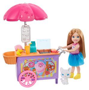 Barbie Chelsea-Spielset mit Puppe und Imbisswagen, 15 cm große Puppe, blond, mit Tier und Zubehörteilen