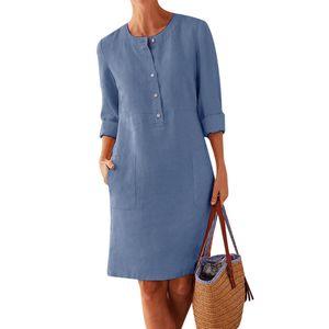Plus Size Casual einfarbige Baumwolle Leinen Frauen Langarm Tunika Kaftan Kleid