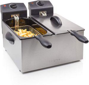 CYE Edelstahl Doppel-Fritteuse - 2 x 3 Liter, 2 x 1800 Watt, mit Kaltzonenfunktion und regelbarer Heizstufe, FR-6937