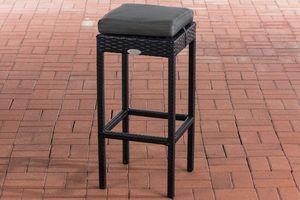 CLP Barhocker Alia mit Aluminiumgestell und Sitzhöhe von 75 cm, Farbe:schwarz, Polsterfarbe:Anthrazit