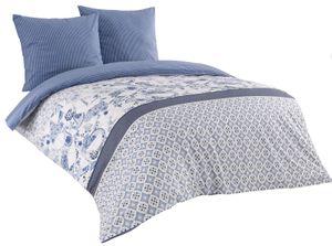 3 tlg Baumwolle Renforce Bettwäsche 200x200 blau weiß gestreift Wendebettwäsche Milo