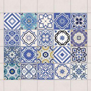 Fliesenaufkleber Set - 20 Mediterrane Fliesen - Fliesensticker 10cm x 10cm, Setgröße:20teilig