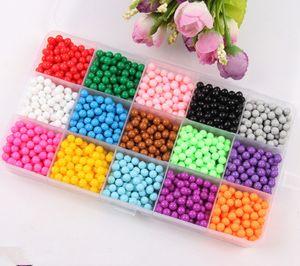 15 Farben Aqua Beads Glitzer Set Basteln Kinder Bastelset Glitzerperlen Perlen