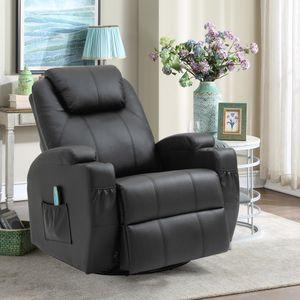 Massagesessel 360° drehbar Relaxsessel mit Wärmefunktion Fernsehsessel Liegefunktion TV Sessel Polstersessel Schwarz